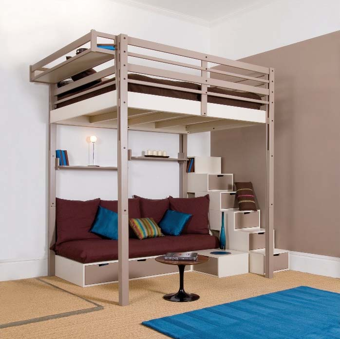 Simple Loft Bed With Desk For Bedroom Design Of Any Size Cool Pictures  Pin Loft Bed With Stairs And Desk Woodworking Project Plans on ...